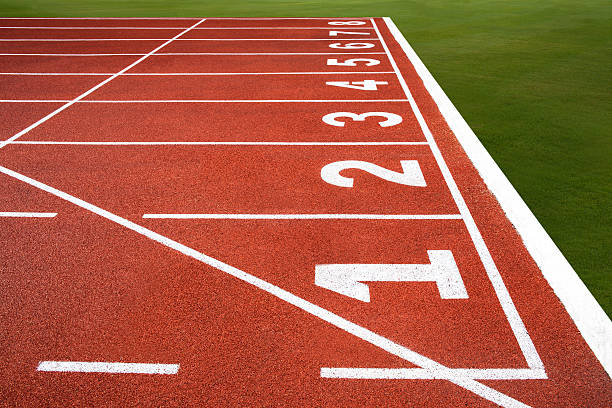 running track with number 1-8, texture for background. - sports championship stock photos and pictures