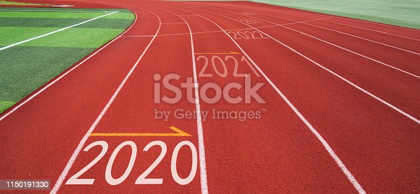 1150191246 istock photo Running track with Number 2020, 2021, 2022 1150191330