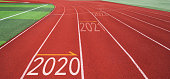Running track with Number 2020, 2021, 2022.
