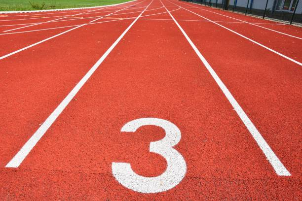 running track with number 3. colorful background for sport. - number 3 stock photos and pictures