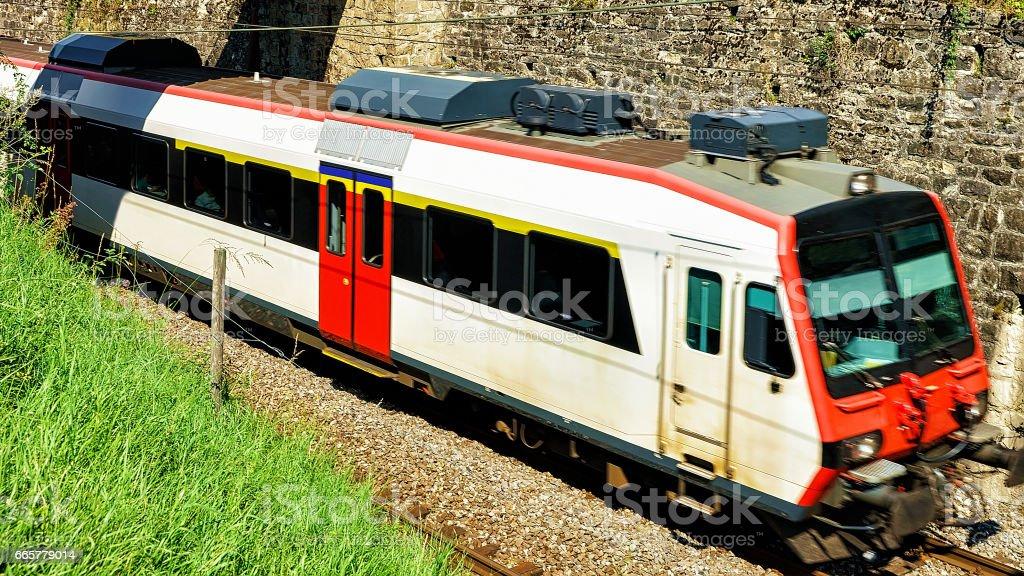 Running train at Vineyard Terrace of Lavaux Swiss stock photo