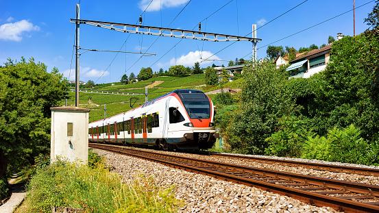 Running train in Lavaux Vineyard Terrace hiking trail in Switzerland