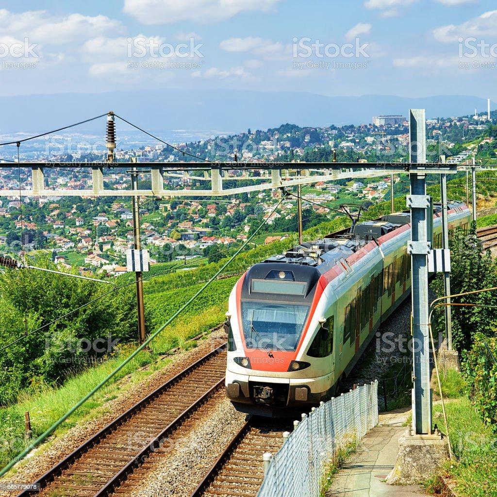 Running train in Vineyard Terraces of Lavaux in Switzerland stock photo