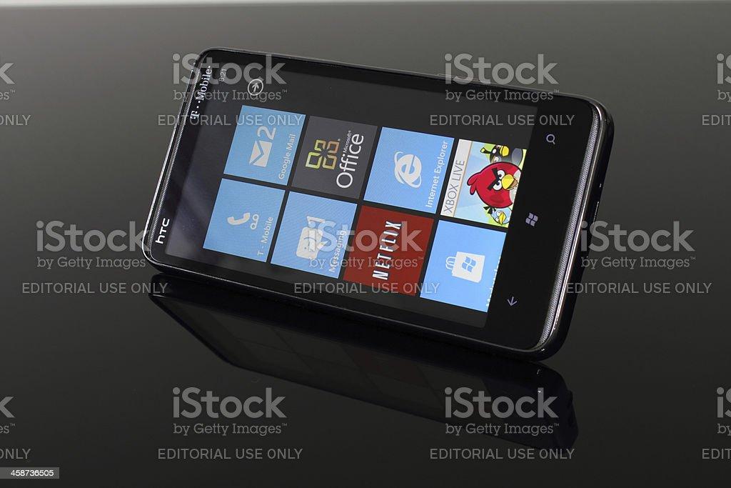 HTC HD7 running Windows Phone 7 stock photo