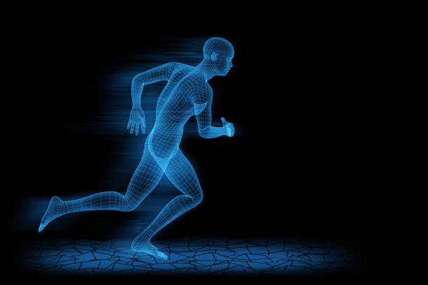 Running wireframe man. 3d rendering with motion blur. stock photo