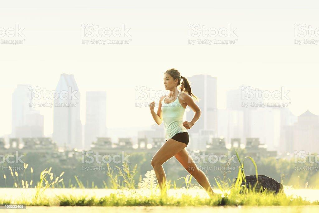 Running woman city fitness stock photo