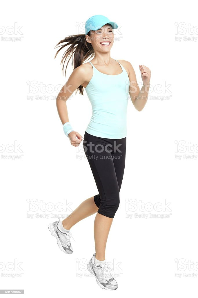 Running woman isolated royalty-free stock photo