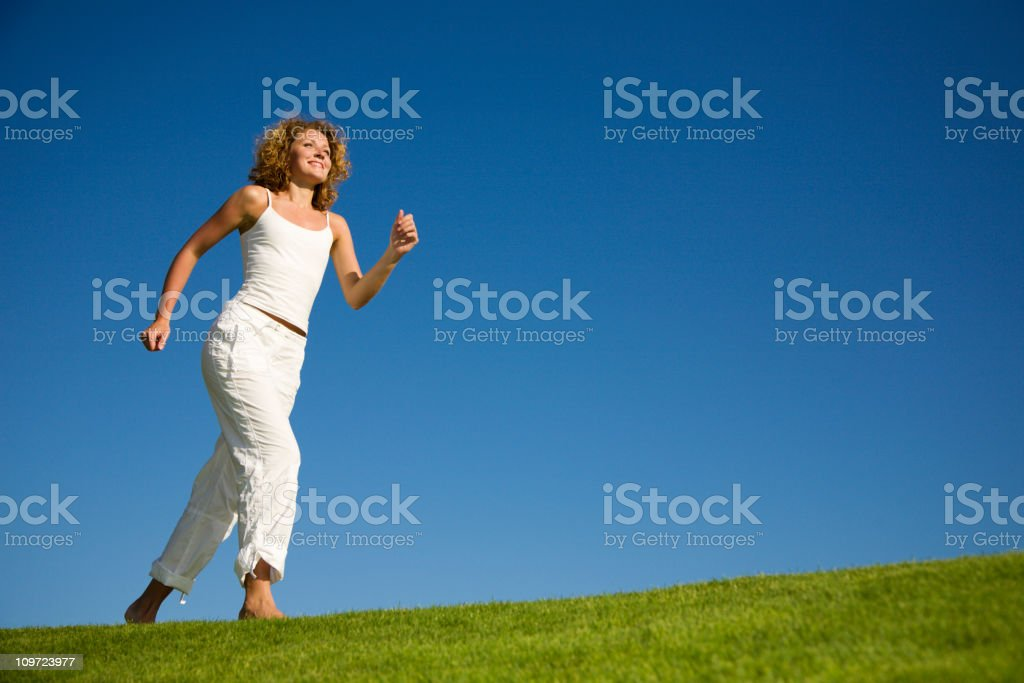 Running woman royalty-free stock photo