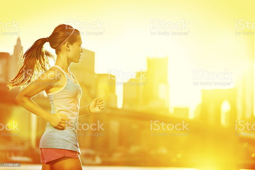 Running woman stock photo