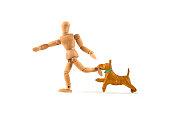 running wooden mannequin bitten by dog - dangerous dog or not educated?