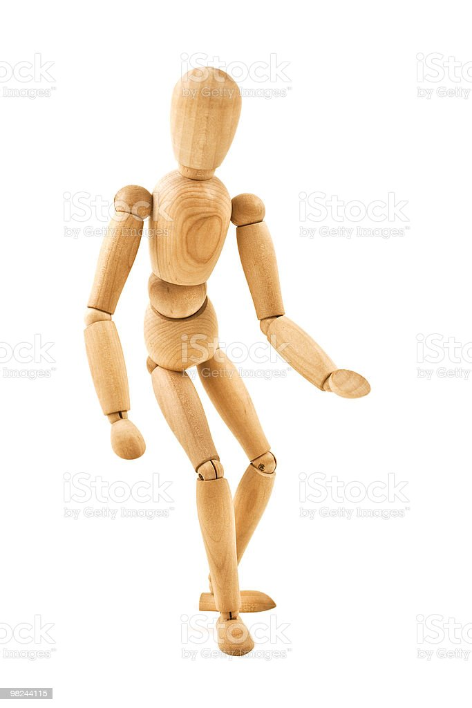 running  wooden mannequin isolated on white background royalty-free stock photo