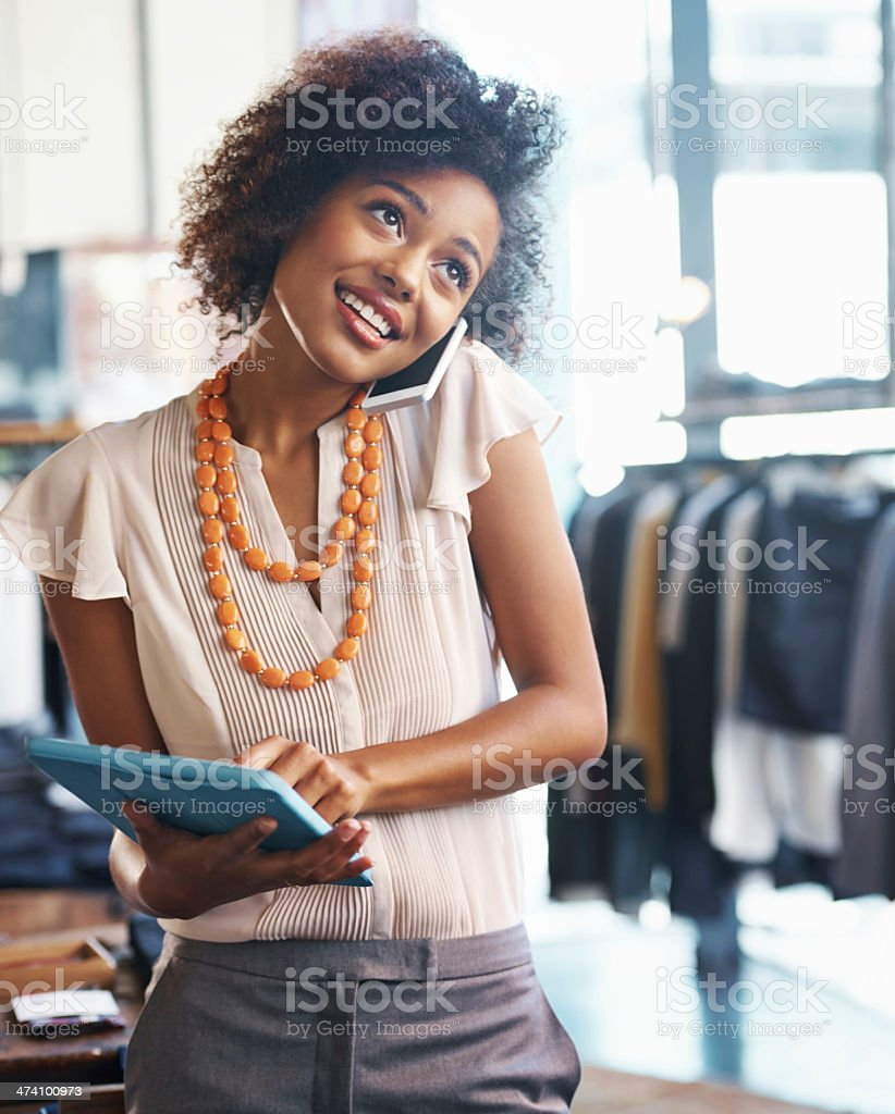 Running your own boutique is no easy task stock photo