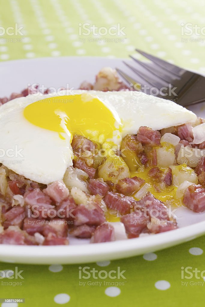 Runny Egg on Corned Beef Hash royalty-free stock photo