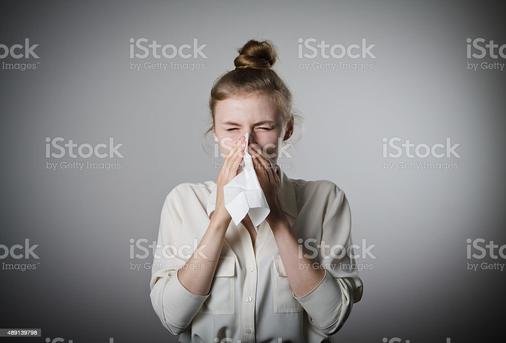 Runny nose stock photo