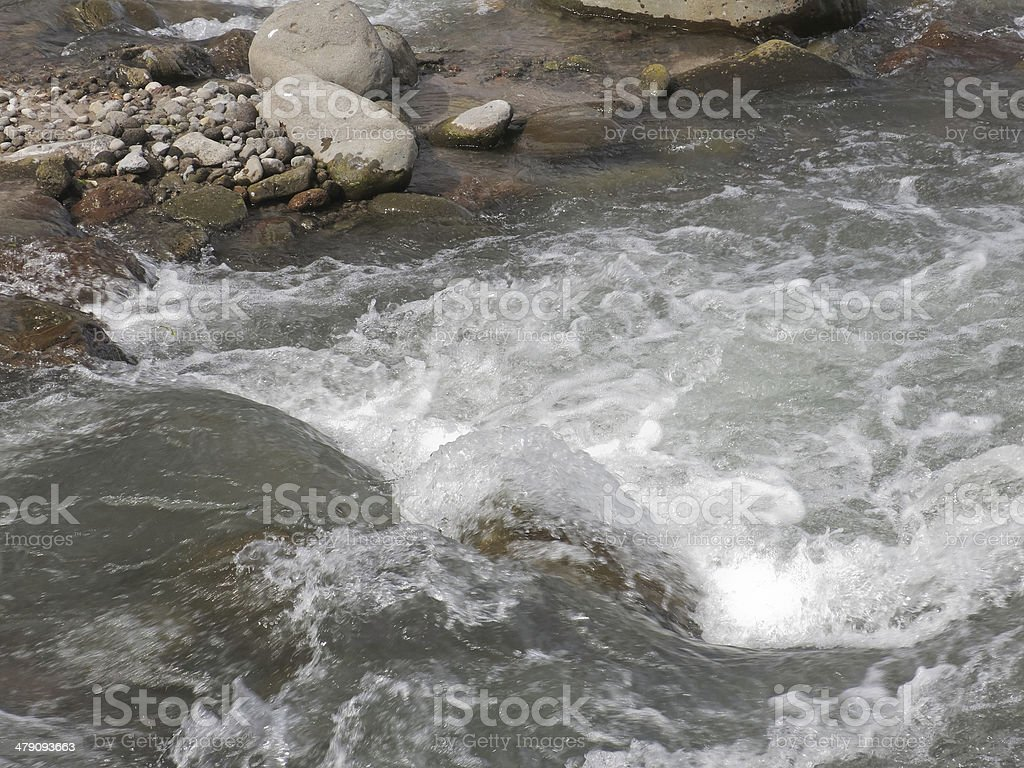 Runoff from ice-capped mountain stock photo