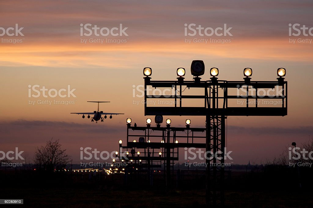 runway at night stock photo