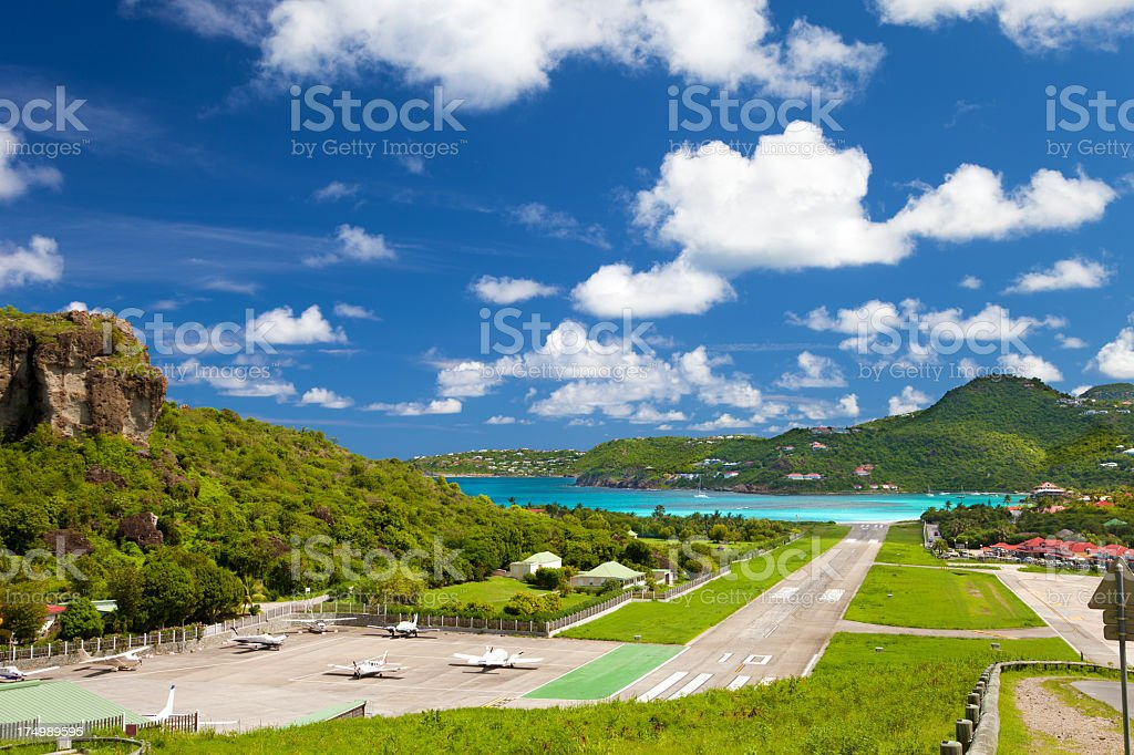 runway at the airport in St. Barths, French West Indies stock photo