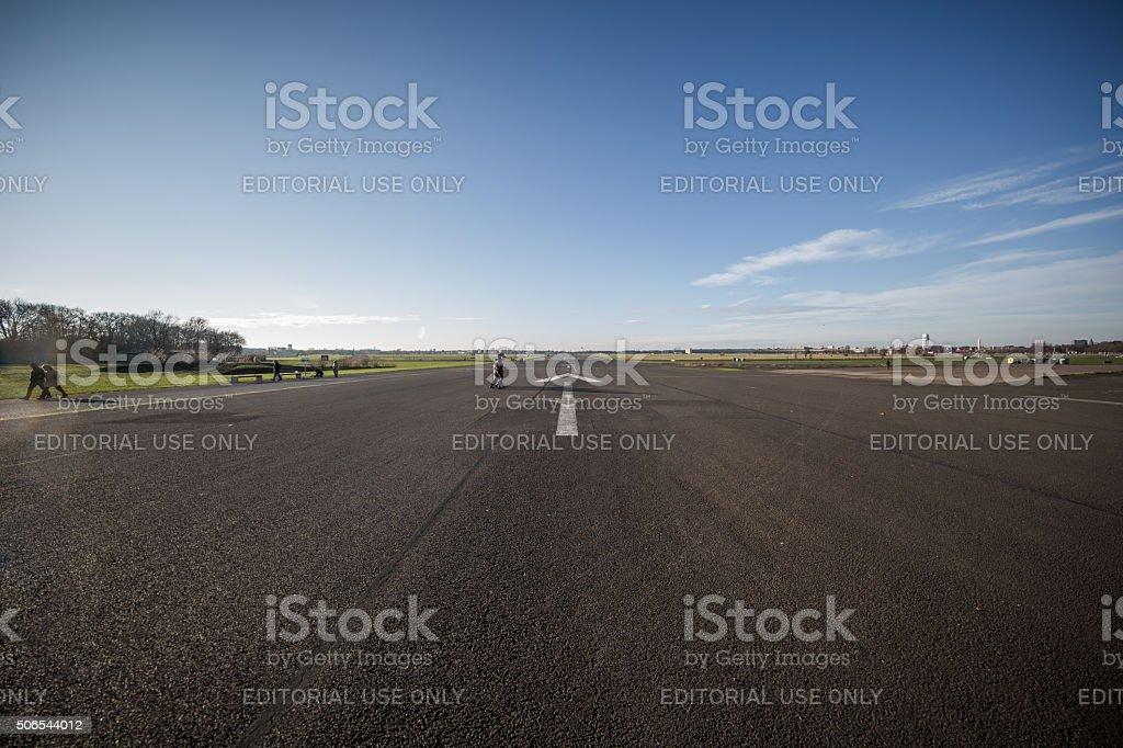 Runway in Tempelhof Airport, Berlin, Germany stock photo