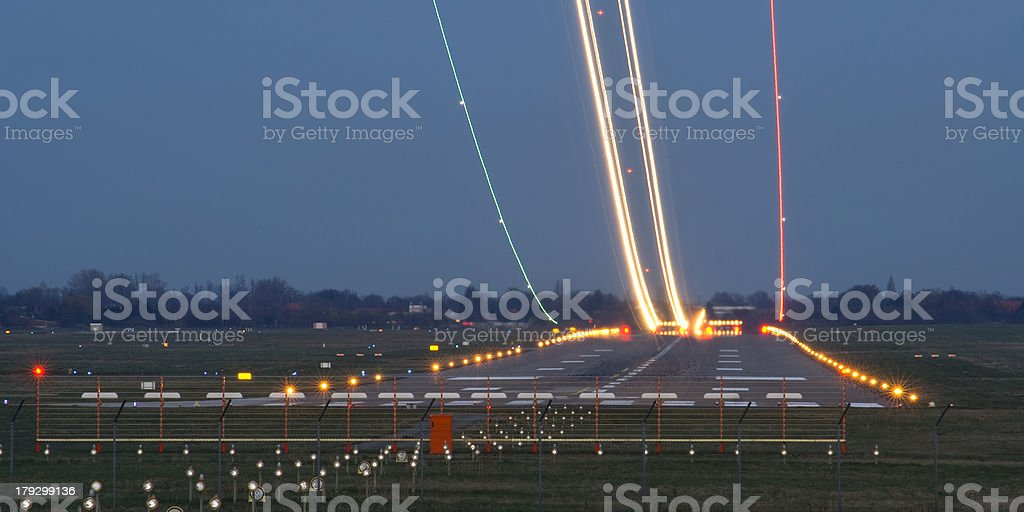 Runway in the evening stock photo