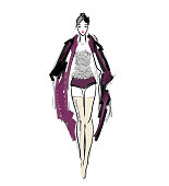 Runway model in fashion clothes isolated on white background. Woman wearing beige over-the-knee boots, silver glitter top and trendy coat. Fashion design sketch.