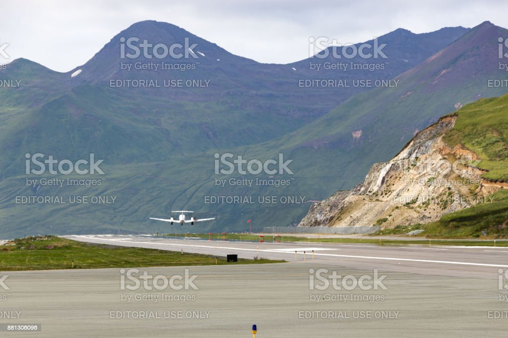 Runway of the Tom Masden airport, Unalaska. stock photo