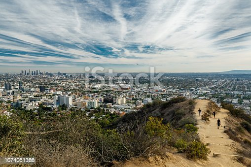 Public Park in Los Angeles, beautiful Runyon Canyon Park, top view of the city and Hollywood Hills