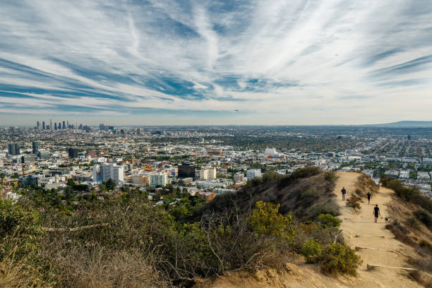 runyon canyon park, los angeles, kalifornien - schlucht stock-fotos und bilder