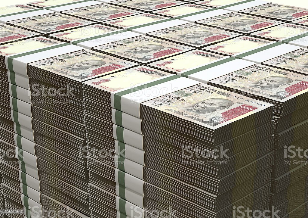 Rupee Notes Pile stock photo