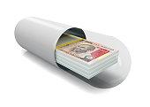istock Rupee packs in the capsule, pill. 1136153079