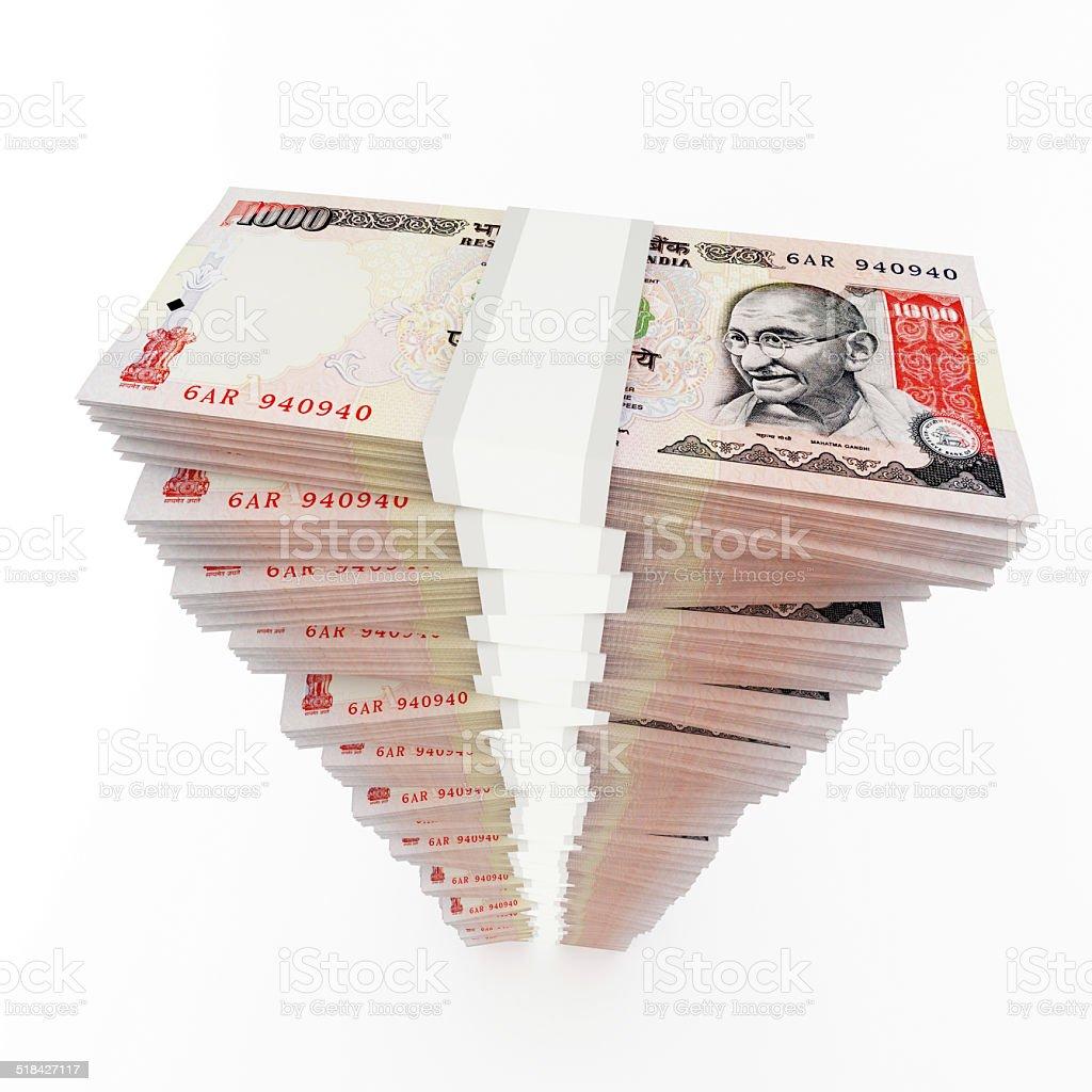 Rupee stack stock photo