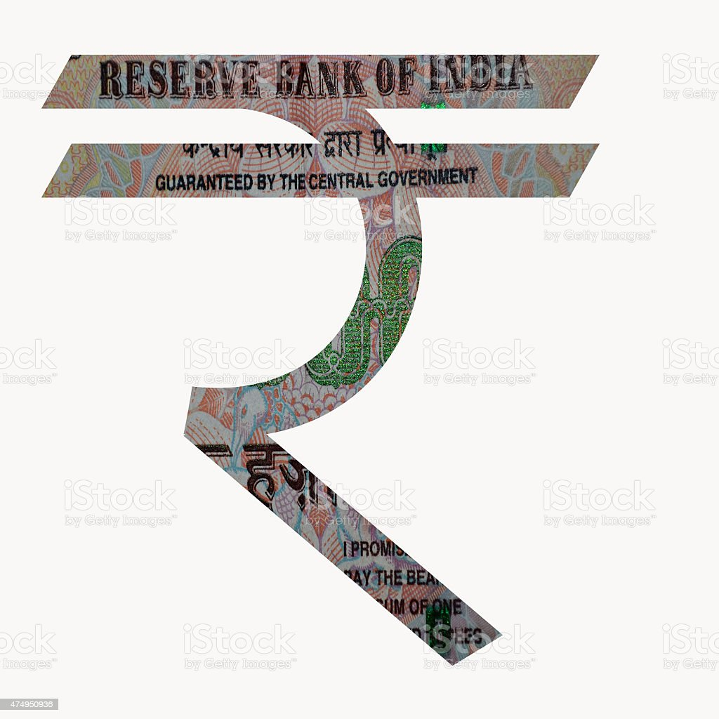 Rupee Symbol with 500 Indian Rupee money note in it stock photo