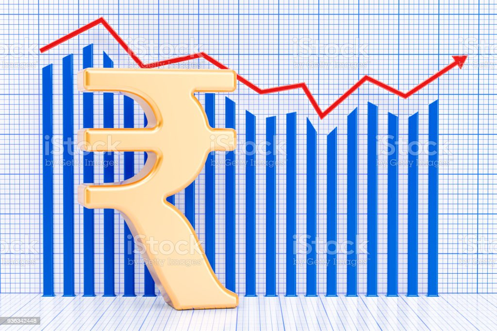 Rupee symbol with growing chart. 3D rendering stock photo