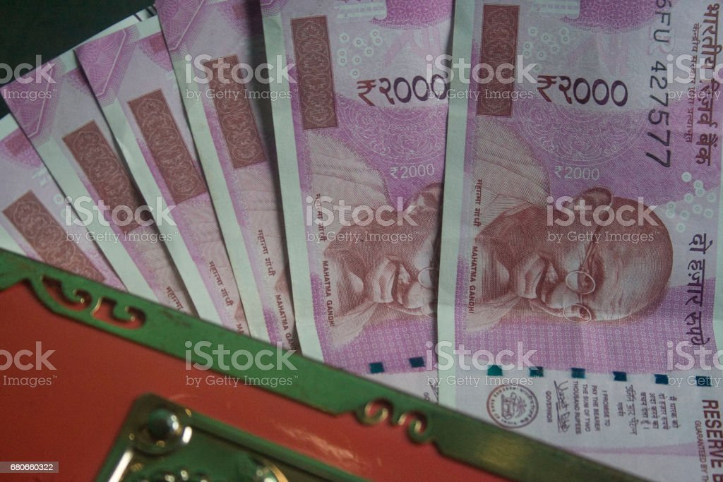 2000 rupees wallet stock photo