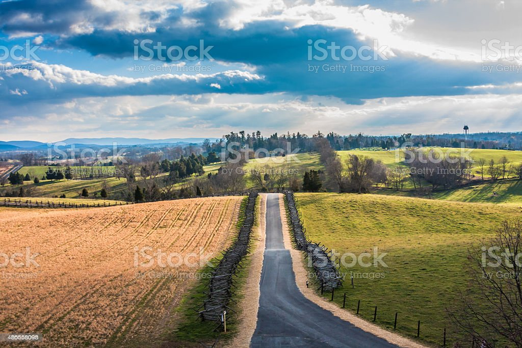 Rural Antietam Landscape with Dramatic Clouds stock photo