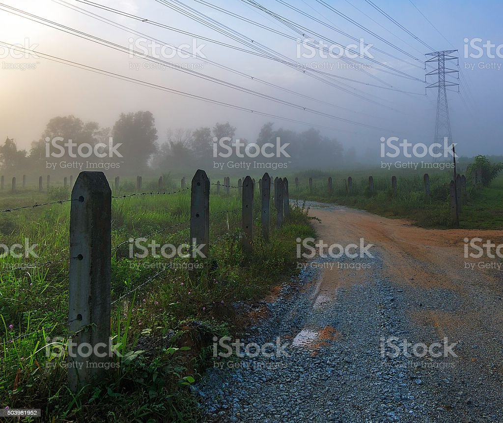 Rural area with fogs moment stock photo
