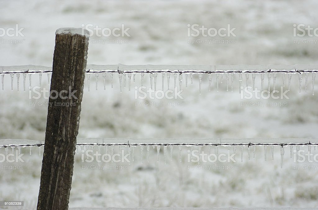 Rural Barbed Wire Fence After Ice Horizontal stock photo 91052339 ...
