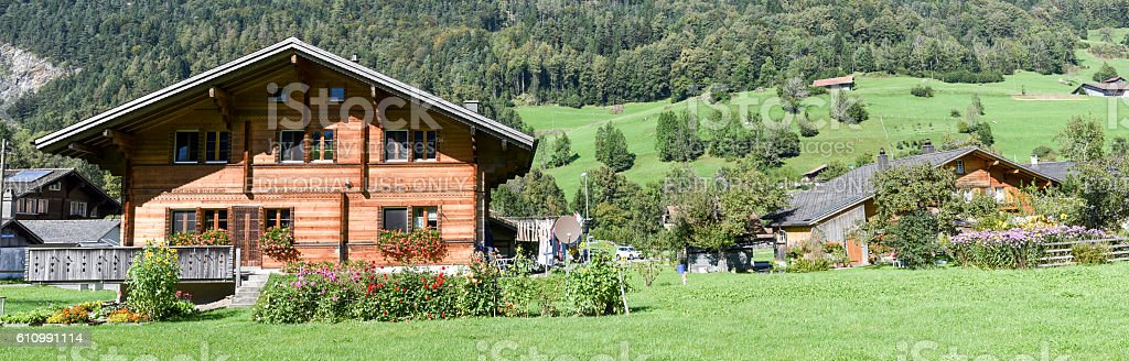 Rural chalets at Wilen on the Swiss alps stock photo