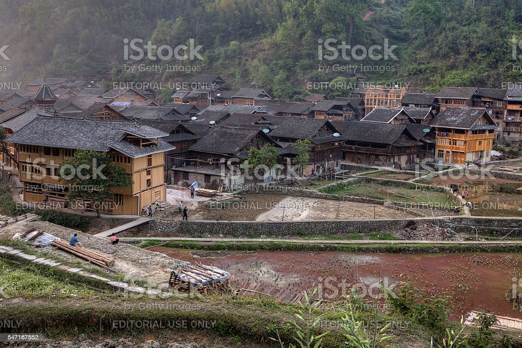 Rural China, mountain area, village of Dong ethnic minority, Guizhou. stock photo