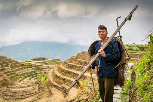 Rural Chinese Longsheng Rice Terraces Farming Worker China