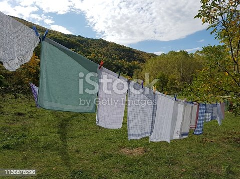 Laundry drying on an outdoor clothesline