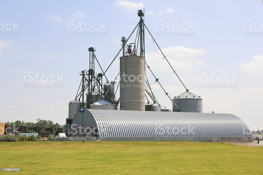 Rural Commercial Farming with Train Passing stock photo