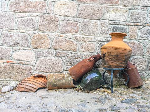 Ceramic plate and pot somwhere on Santorini Island.
