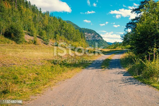 1155573645istockphoto Rural dirt road in the forest at the foot of the mountains 1132480166