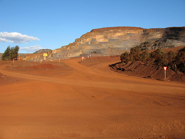 Rural dirt road inside a mining company stock photo