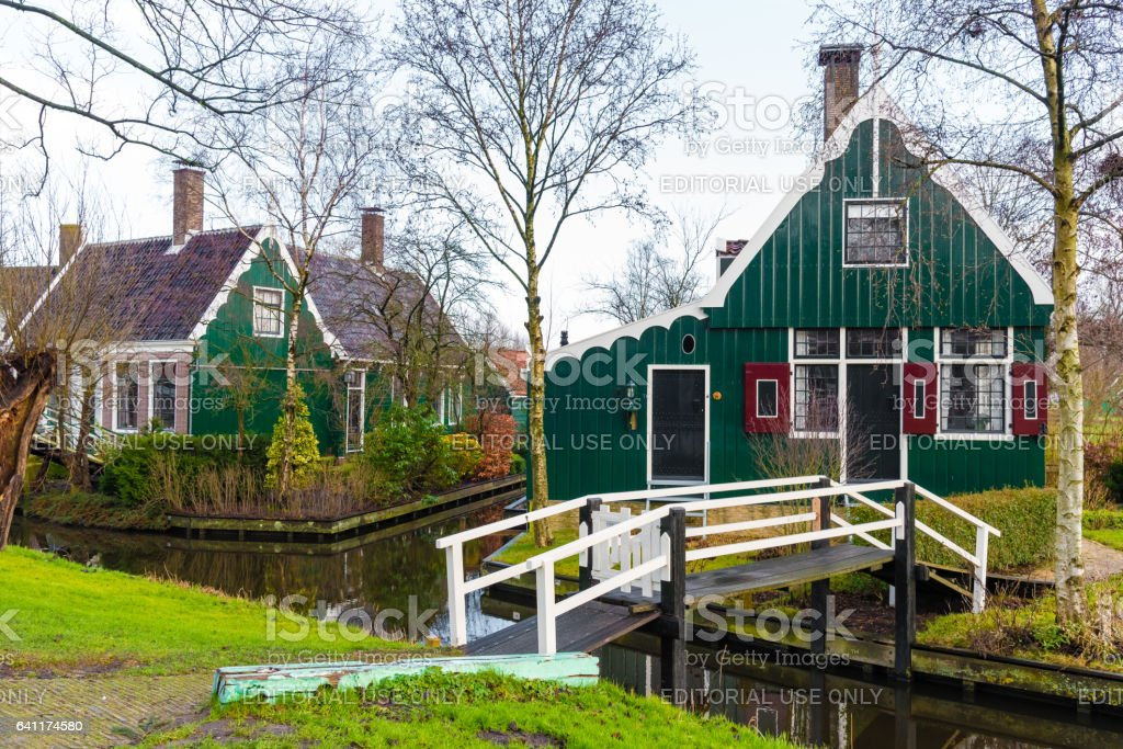 Rural Dutch scenery in Zaanse Schans village stock photo