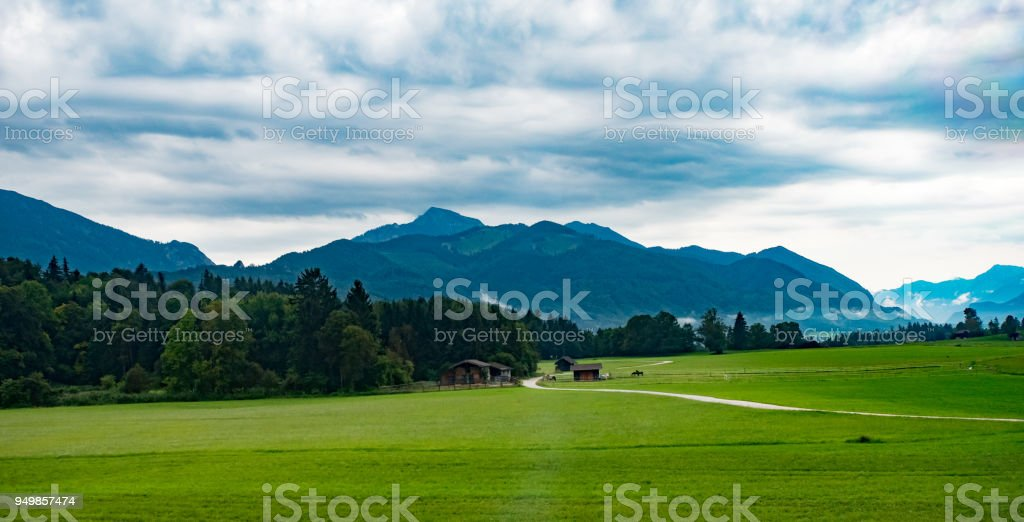 Rural farm scene Germany countryside stock photo