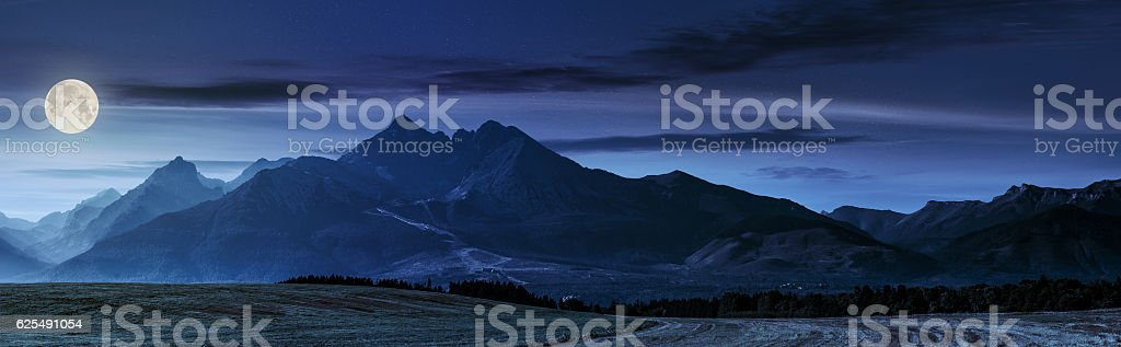 rural field in Tatra mountains at night stock photo