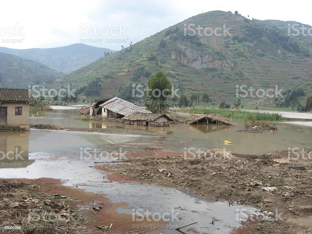 Rural flooding and poverty in Nkamira, North West Rwanda, Africa stock photo