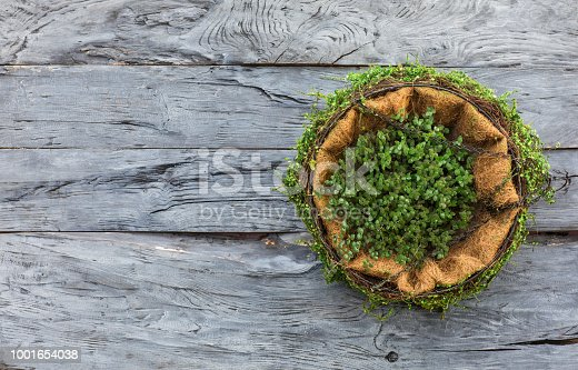 rural floral decorations on a wooden wall