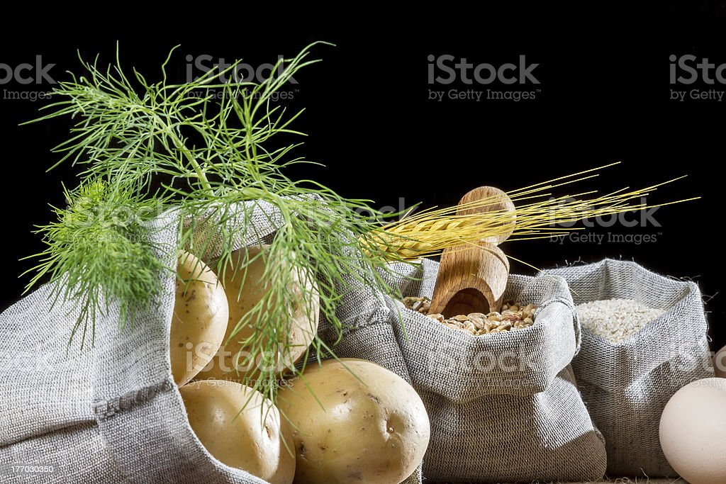 Rural food ingredients on black background royalty-free stock photo
